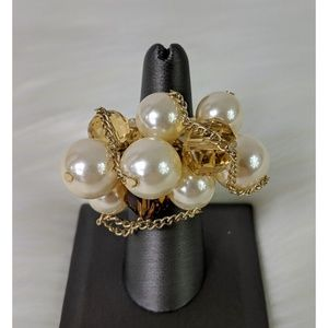 Chunky Faux Pearl Charm Stretch Ring